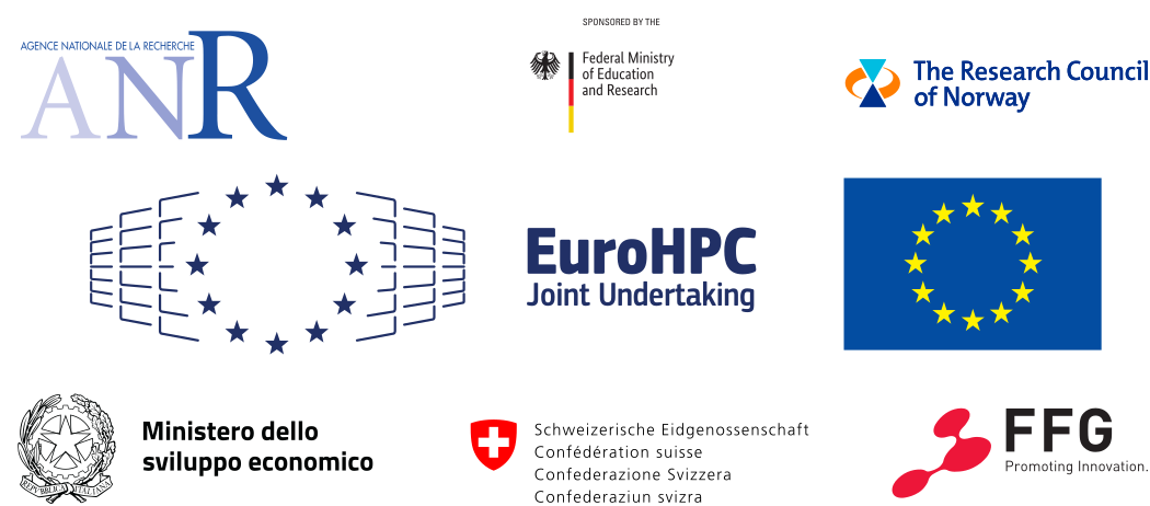 Logos of the funding organizations: ANR in France,       The Research Council of Norway, the Federal Ministry of Education and Research in Germany,       EuroHPC, the European Union, the Ministerio dello sviluppo economico in Italy, the Swiss       Federation, and the Federale Forschungsgemeinschaft in Austria.